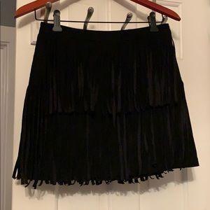 H&M Black Fringe Skirt